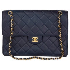 1996 Chanel Navy Quilted Lambskin Vintage Jumbo Double Sided Classic Flap Bag