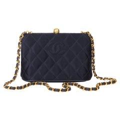 1996 Chanel Navy Quilted Satin Vintage Timeless Frame Shoulder Bag