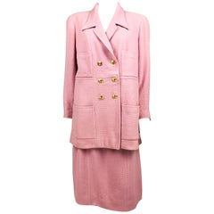 1996 Chanel Pink Wool Skirt Suit With Gilt Logo Buttons (Large Size)