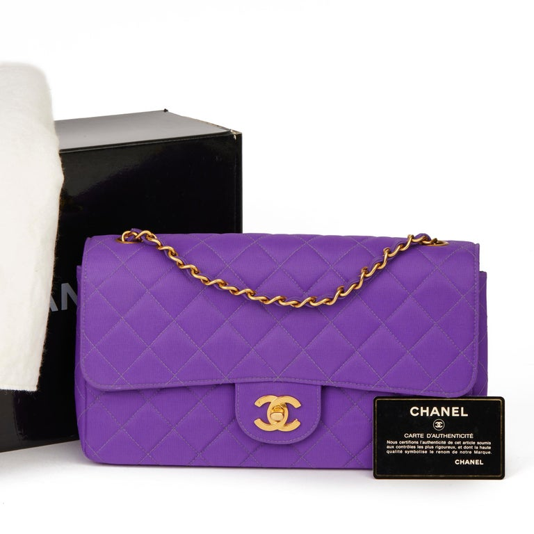 1996 Chanel Purple Quilted Nylon Fabric Vintage Classic Single Flap Bag For Sale 8