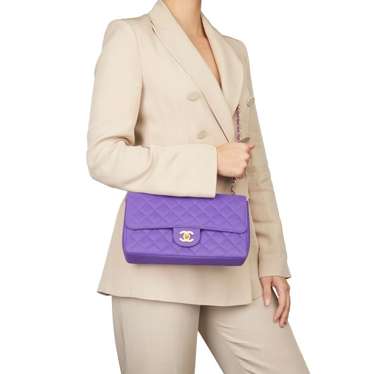 CHANEL Purple Quilted Nylon Fabric Vintage Classic Single Flap Bag  Xupes Reference: HB3088 Serial Number: 3604003 Age (Circa): 1996 Accompanied By: Chanel Dust Bag, Box, Authenticity Card Authenticity Details: Serial Sticker, Authenticity Card