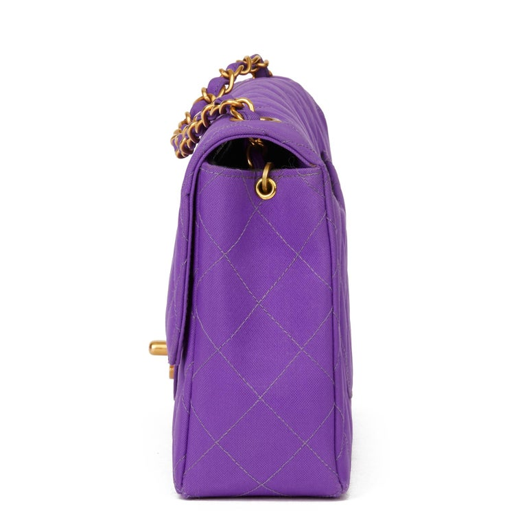 Women's 1996 Chanel Purple Quilted Nylon Fabric Vintage Classic Single Flap Bag For Sale
