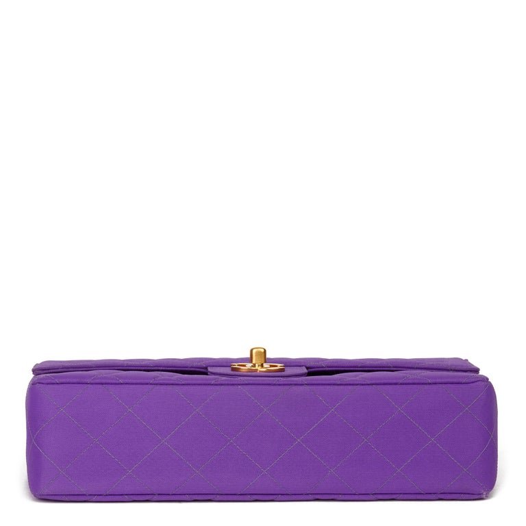 1996 Chanel Purple Quilted Nylon Fabric Vintage Classic Single Flap Bag For Sale 2