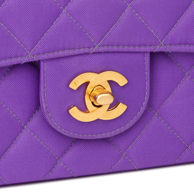 1996 Chanel Purple Quilted Nylon Fabric Vintage Classic Single Flap Bag For Sale 3