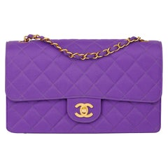 1996 Chanel Purple Quilted Nylon Fabric Vintage Classic Single Flap Bag