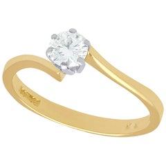 1996 Contemporary 0.37 Carat Diamond and 18 Karat Gold Solitaire Twist Ring