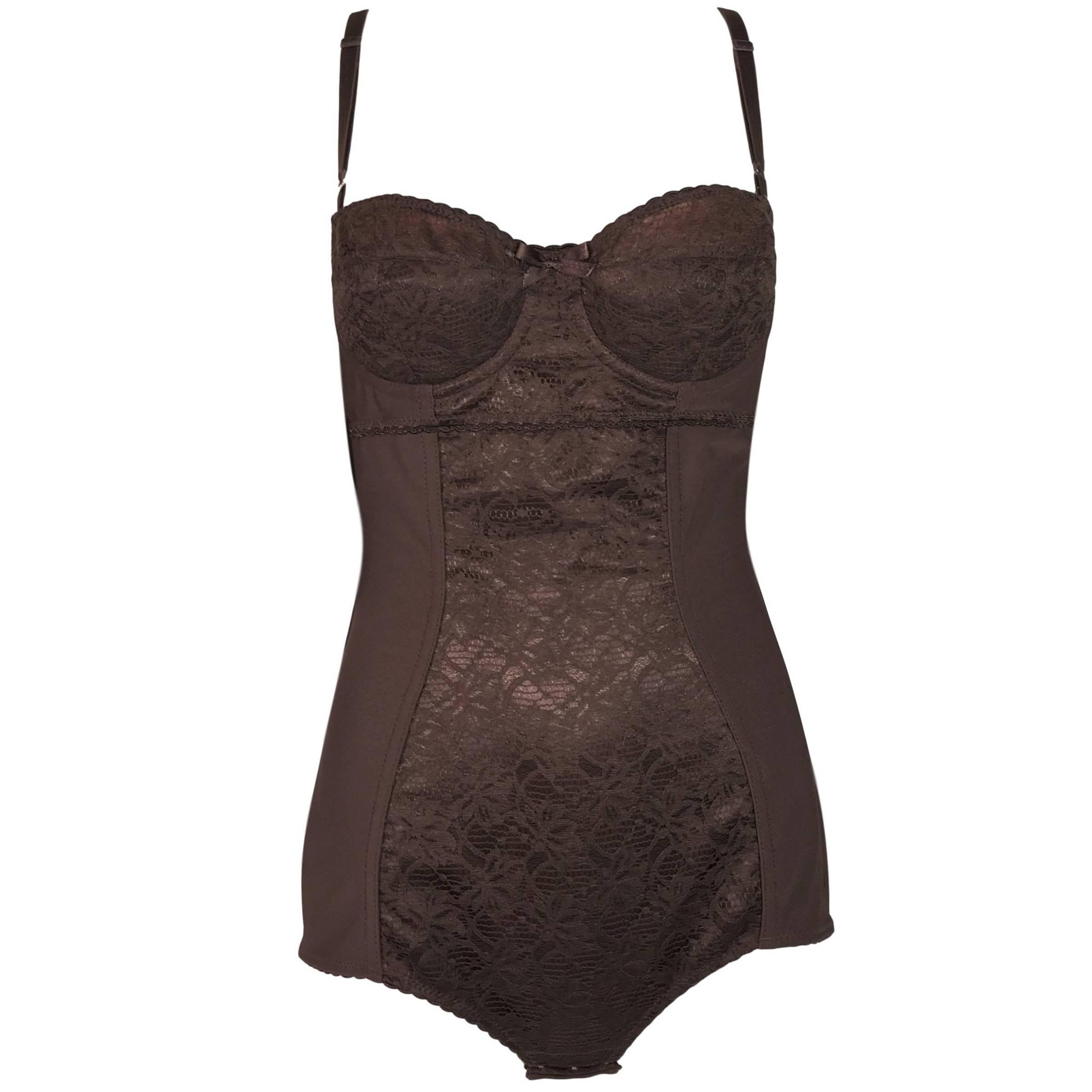 60c1ea142b 1996 Dolce and Gabbana Brown Lace Corset Bodysuit Top at 1stdibs