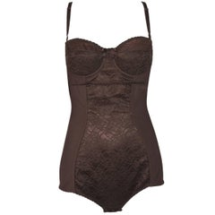 1996 Dolce & Gabbana Brown Lace Corset Bodysuit Top
