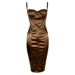 1996 Dolce & Gabbana Bronze Bustier Hook & Eye Bodycon Wiggle Dress