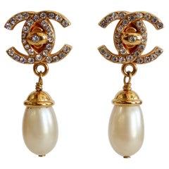 1996 Fall/Winter Chanel Mademoiselle Turn-lock Drop Earrings
