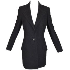 1996 Gianni Versace Couture Black Mesh & Lace Long Fitted Jacket Coat