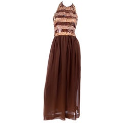 1996 Givenchy Vintage Brown Silk Halter Dress Evening Gown W Sequins & Beads