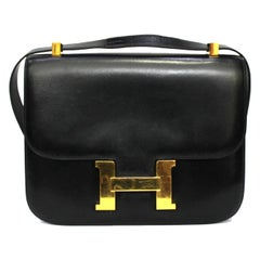 1996 Hermès Black Leather Constance Bag