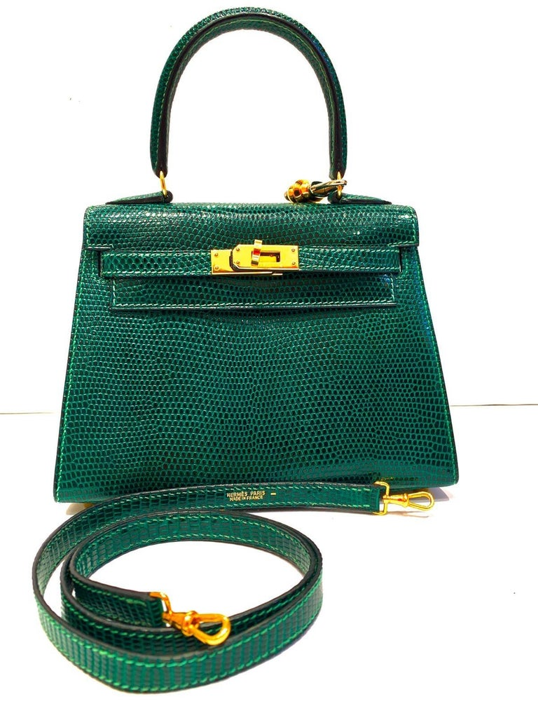 1996 Hermès Vintage Mini Kelly  20cm Green Lizard In Good Condition For Sale In Milan, IT