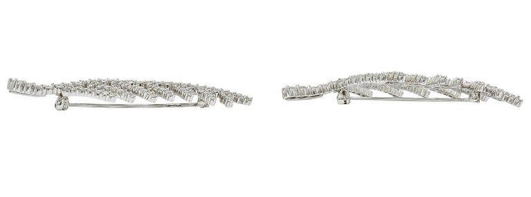 Women's or Men's 1996 Tiffany & Co. 7.00 Carats Diamond Platinum Foliate Brooch Clips For Sale