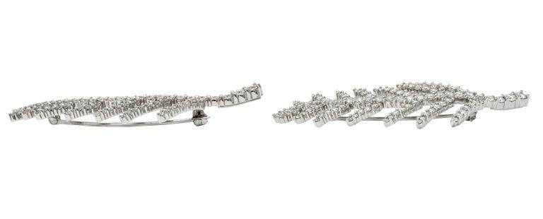 1996 Tiffany & Co. 7.00 Carats Diamond Platinum Foliate Brooch Clips For Sale 1