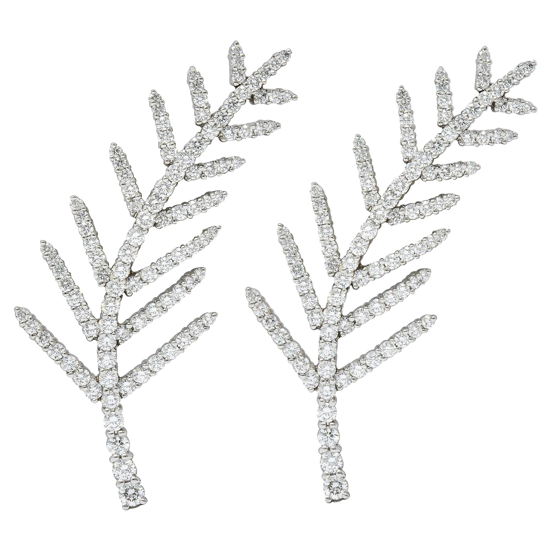 1996 Tiffany & Co. 7.00 Carats Diamond Platinum Foliate Brooch Clips