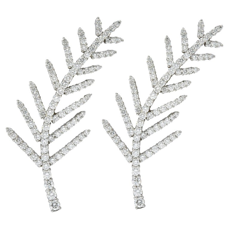 1996 Tiffany & Co. 7.00 Carats Diamond Platinum Foliate Brooch Clips For Sale