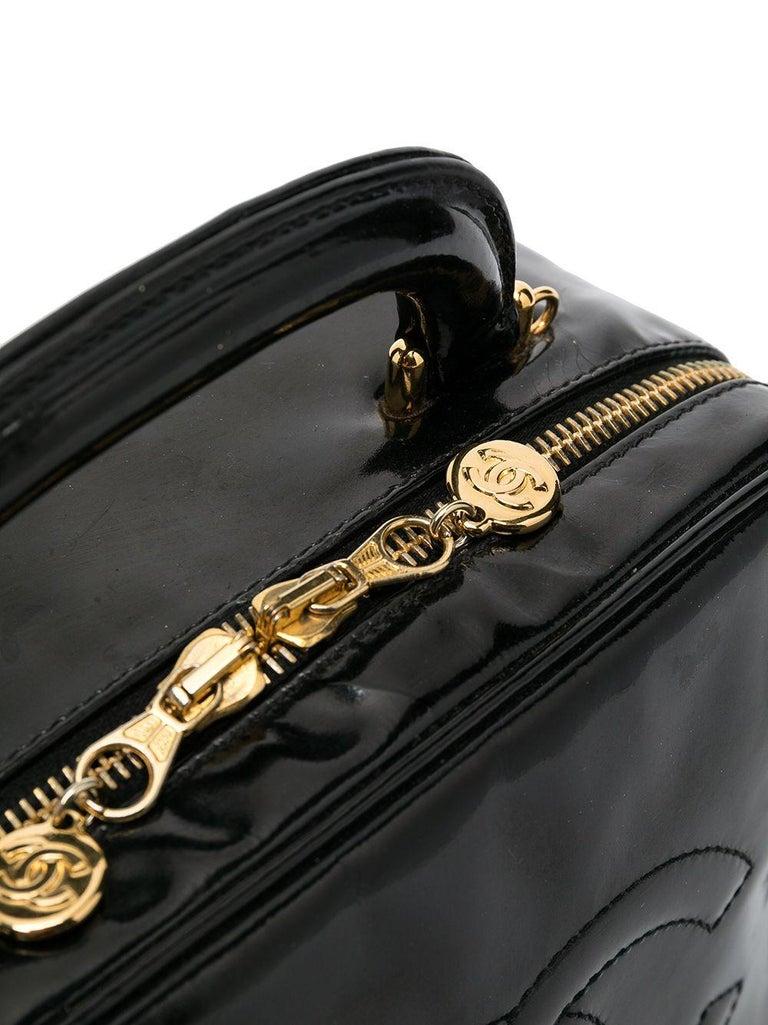 1996s Chanel Black Patent Timeless Vanity Bag For Sale 1