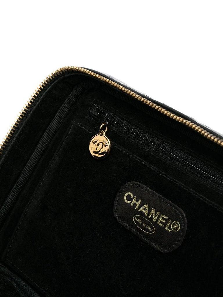 1996s Chanel Black Patent Timeless Vanity Bag For Sale 2