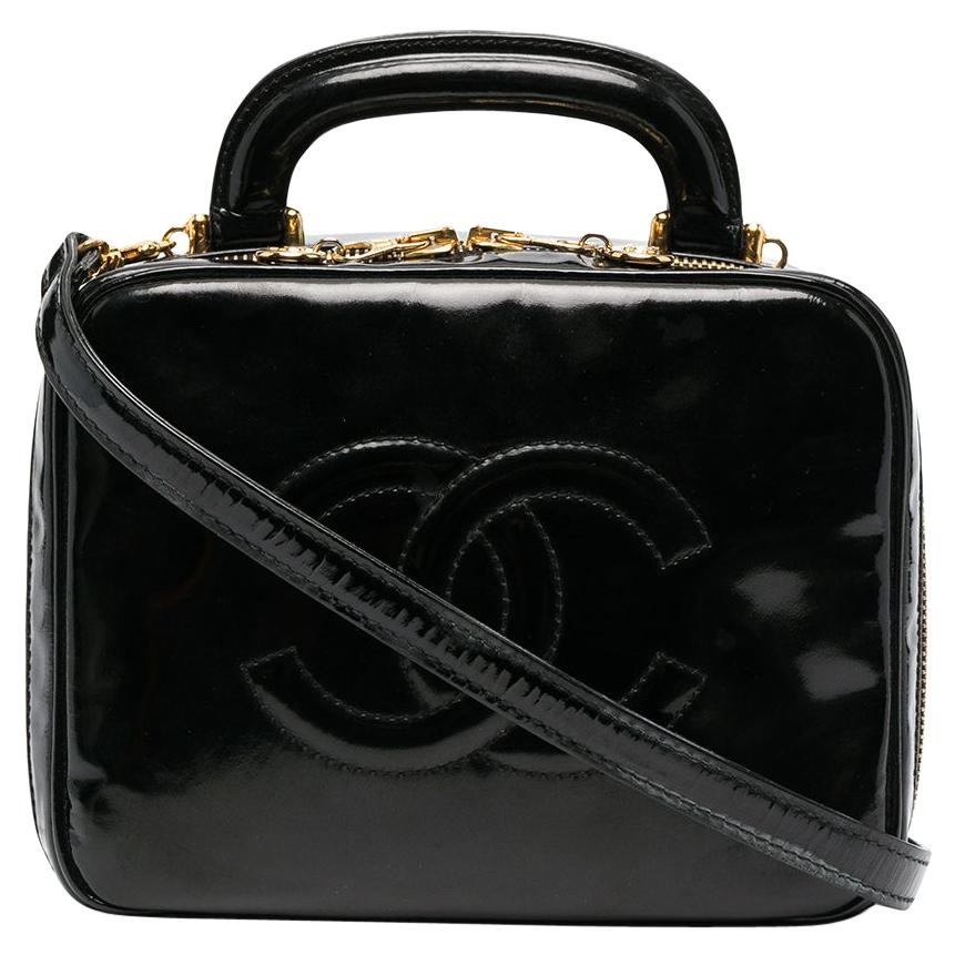 1996s Chanel Black Patent Timeless Vanity Bag