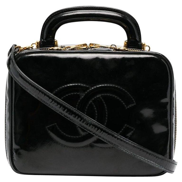 1996s Chanel Black Patent Timeless Vanity Bag For Sale