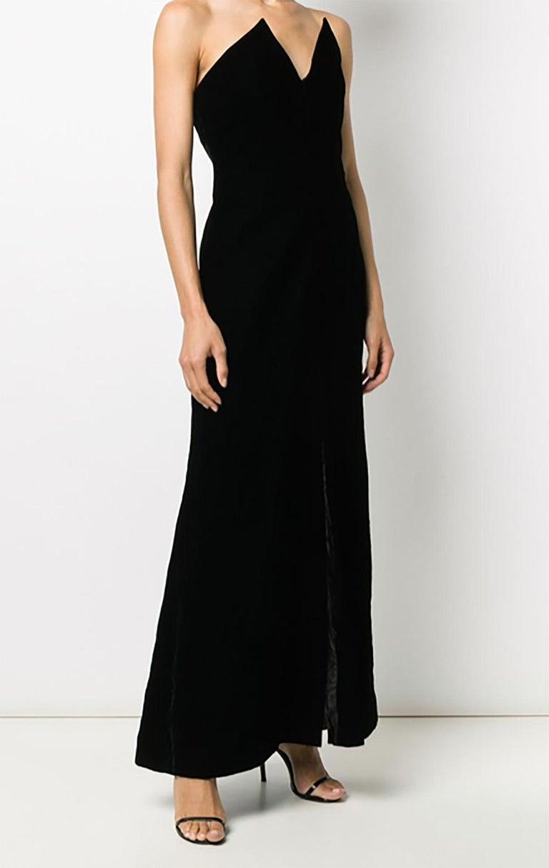 1996s Iconic Yves Saint Laurent Black Velvet Dress Press Helmut Newton Image In Excellent Condition For Sale In Paris, FR