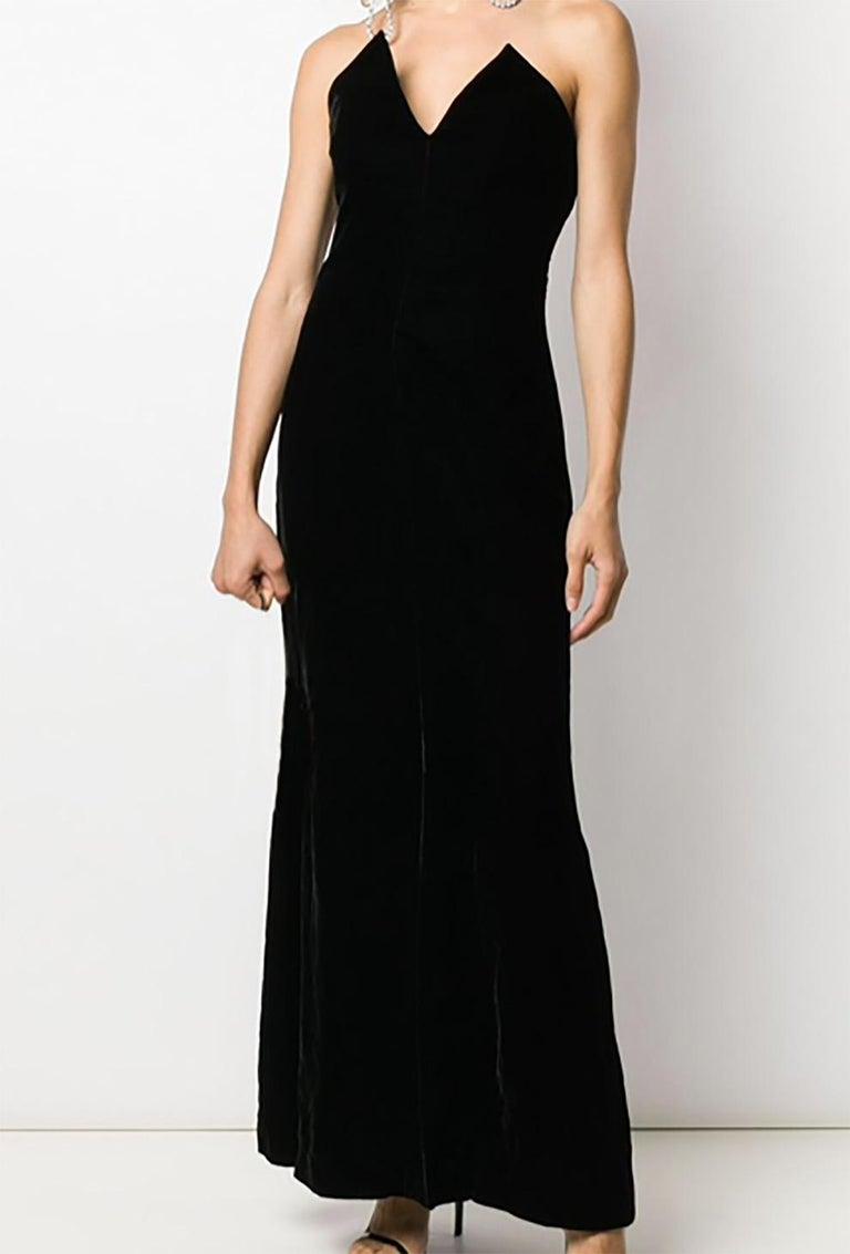 Women's  1996s Iconic Yves Saint Laurent Black Velvet Dress Press Helmut Newton Image For Sale
