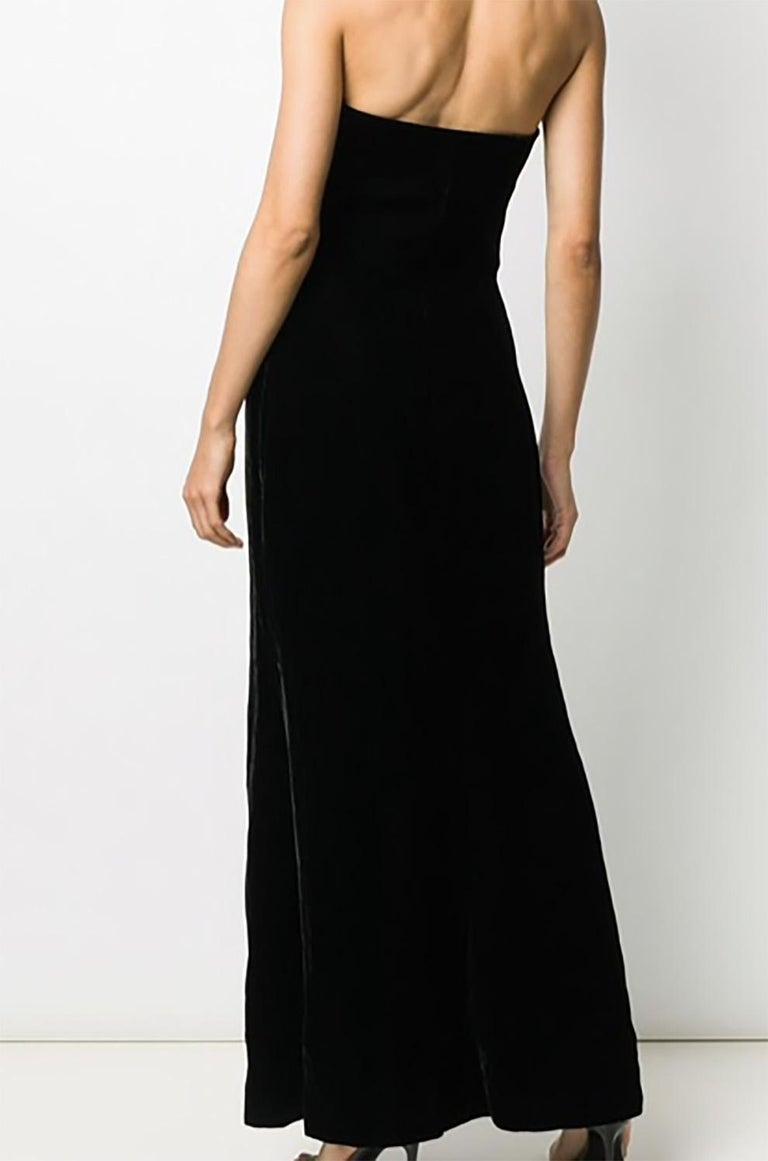 1996s Iconic Yves Saint Laurent Black Velvet Dress Press Helmut Newton Image For Sale 1