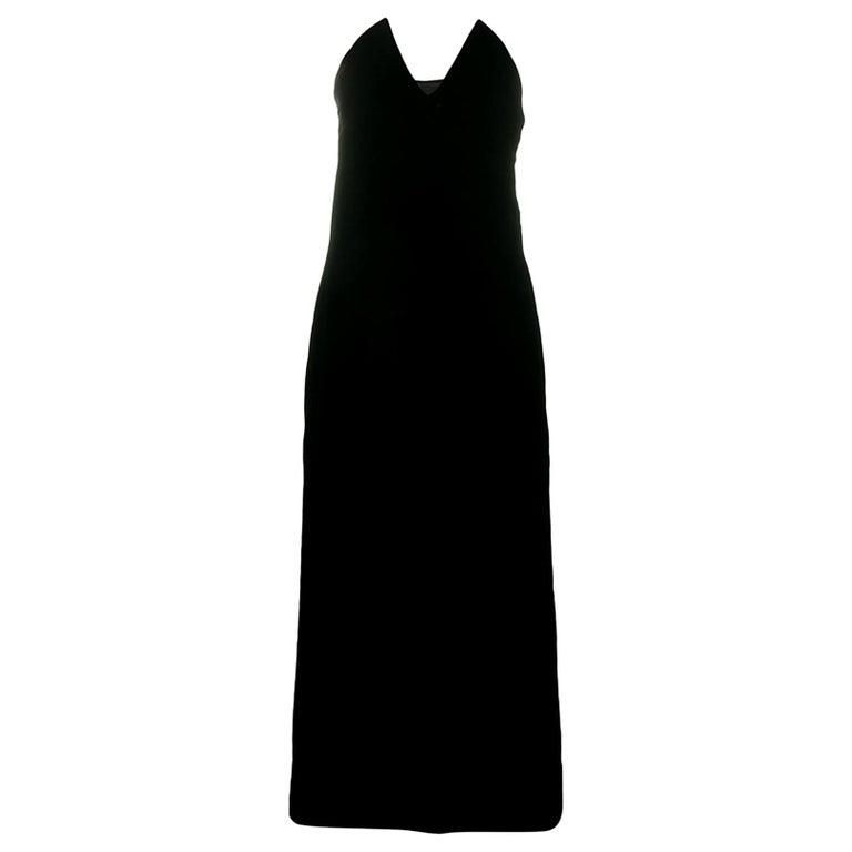 1996s Iconic Yves Saint Laurent Black Velvet Dress Press Helmut Newton Image For Sale