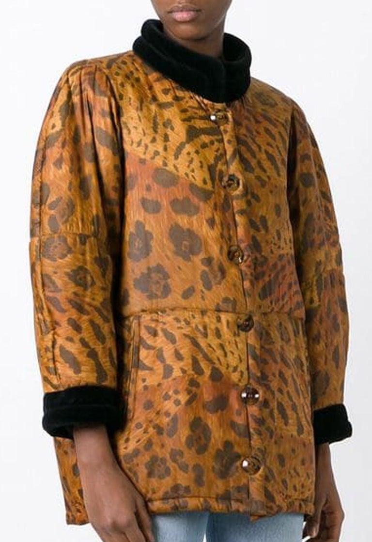 Brown 1996s Yves Saint Laurent Catwalk Animal Print Silk Coat For Sale