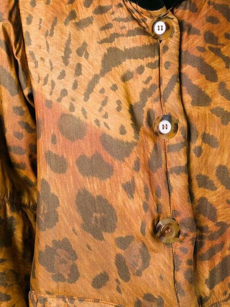 Women's 1996s Yves Saint Laurent Catwalk Animal Print Silk Coat For Sale