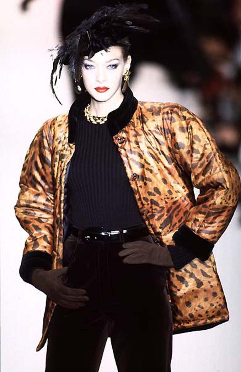 1996s Yves Saint Laurent Catwalk Animal Print Silk Coat For Sale 2