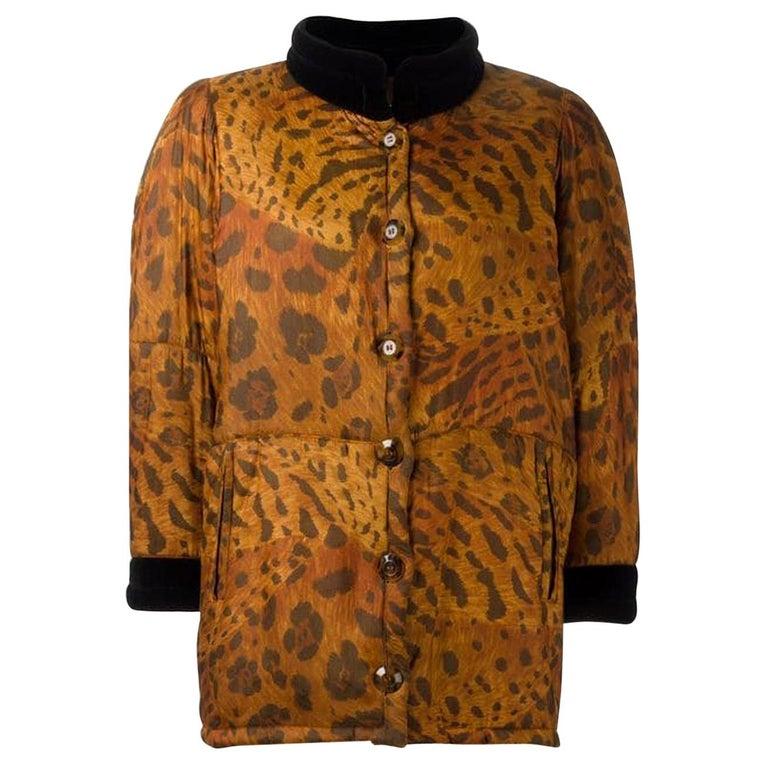 1996s Yves Saint Laurent Catwalk Animal Print Silk Coat For Sale