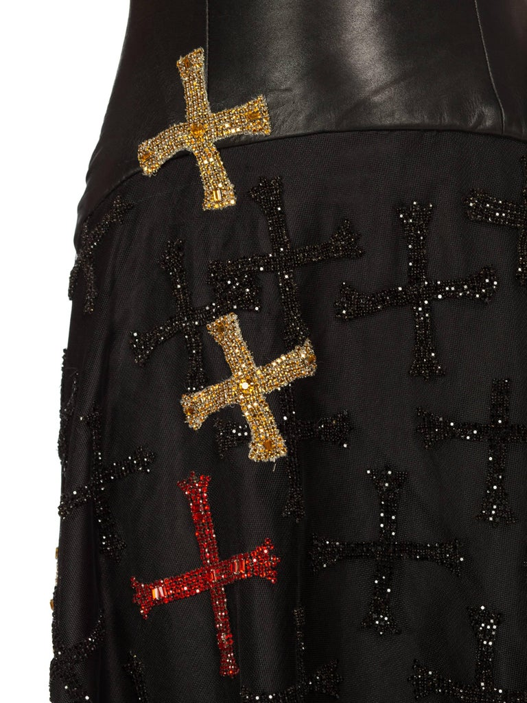 Atelier Versace Leather, Net and Crystal Gown, 1997  For Sale 5