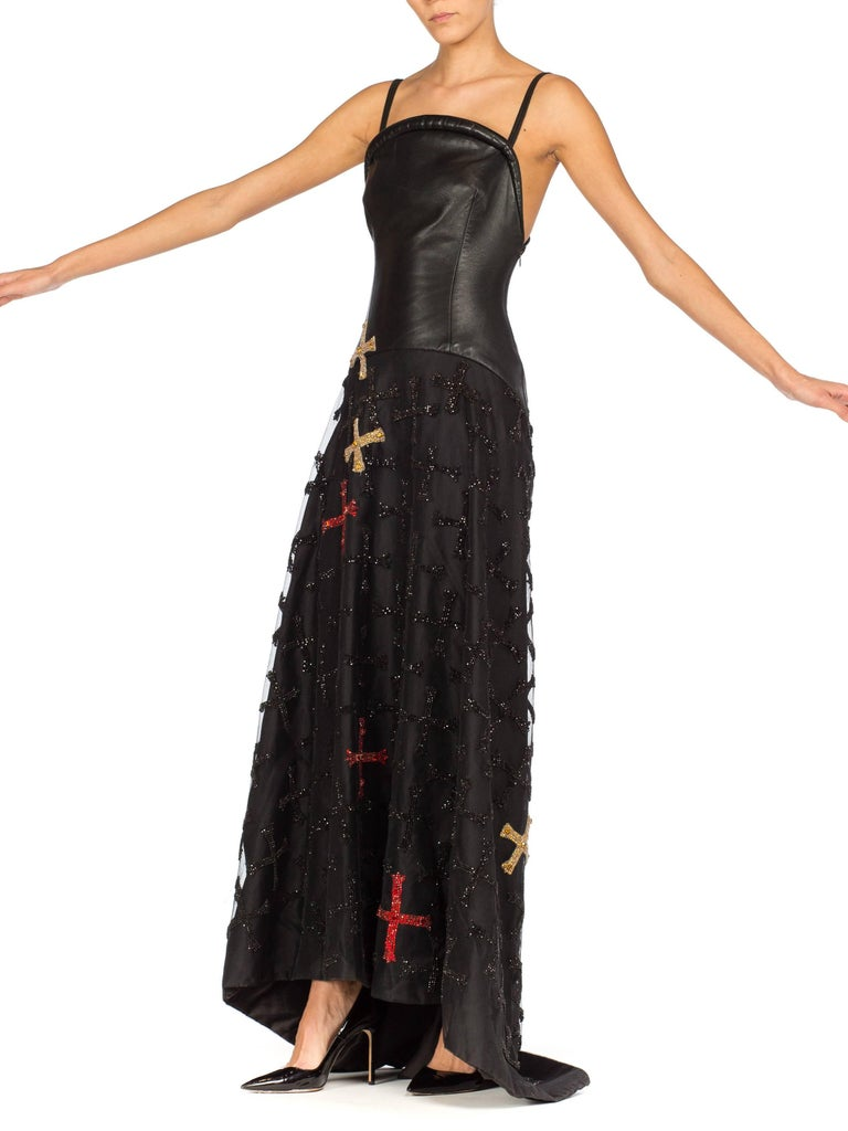 1997 Atelier Versace Leather, Net and Crystal Gown From Gianni Versace's last collection.