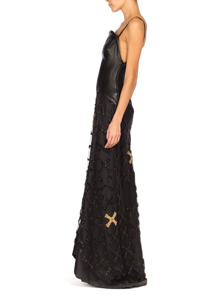 Women's Atelier Versace Leather, Net and Crystal Gown, 1997  For Sale