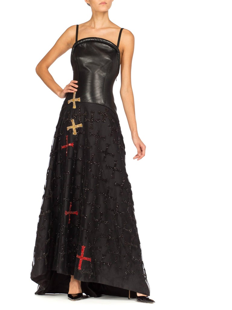 Atelier Versace Leather, Net and Crystal Gown, 1997  For Sale 2