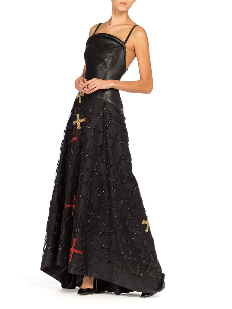 Atelier Versace Leather, Net and Crystal Gown, 1997  For Sale 4