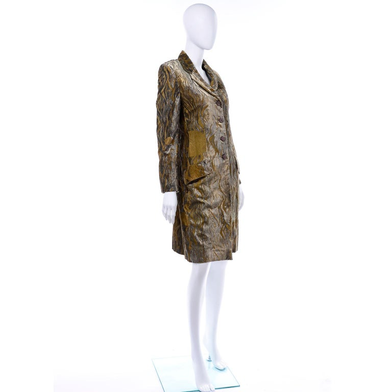 1997 Bill Blass Gold & Green Runway Metallic Button Front Vintage Velvet Coat For Sale 3