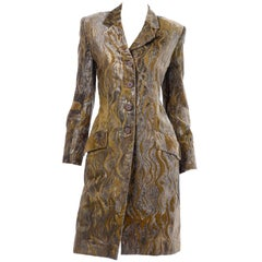 1997 Bill Blass Gold & Green Runway Metallic Button Front Vintage Velvet Coat