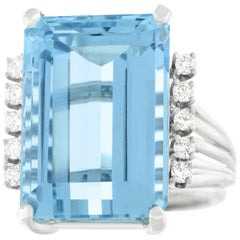 19.97 Carat Aquamarine and Diamond Set Gold Ring