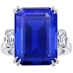 19.97 Carat Emerald Cut Blue Tanzanite and Diamond Ring