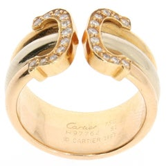 1997 Cartier Double C White Diamond Tricolor Yellow, Rose, White Gold Band Ring