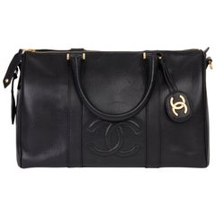 1997 Chanel Black Caviar Leather Vintage Boston 35
