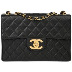 1997 Chanel Black Caviar Leather Vintage Jumbo Single Classic Flap Bag