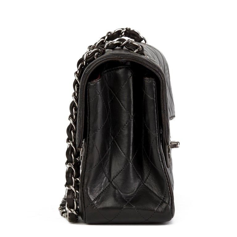 Women's 1997 Chanel Black Lambskin Vintage Double Sided Classic Flap Bag  For Sale