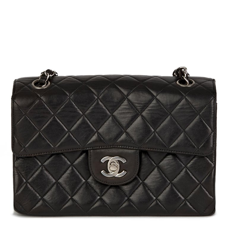 1997 Chanel Black Lambskin Vintage Double Sided Classic Flap Bag  For Sale 1