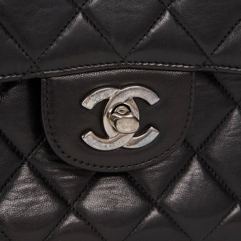 1997 Chanel Black Lambskin Vintage Double Sided Classic Flap Bag  For Sale 2