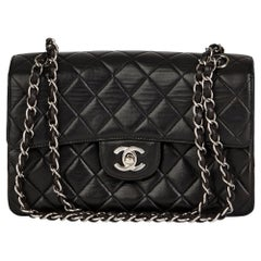 1997 Chanel Black Lambskin Vintage Double Sided Classic Flap Bag